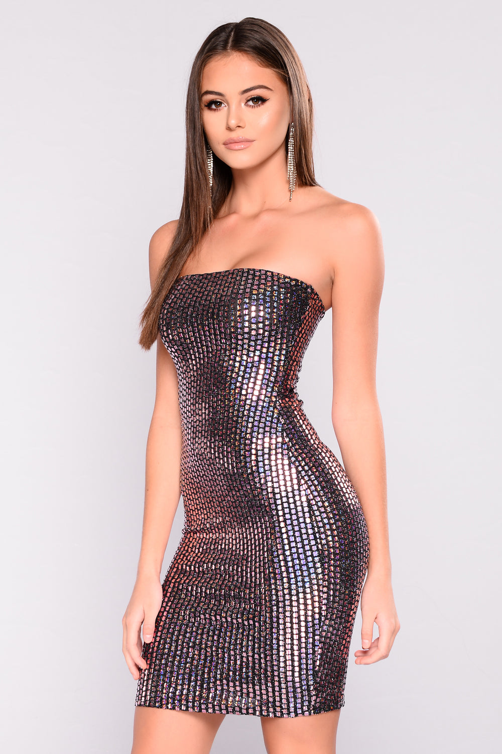 Pure Society Metallic Dress - Black/Pink