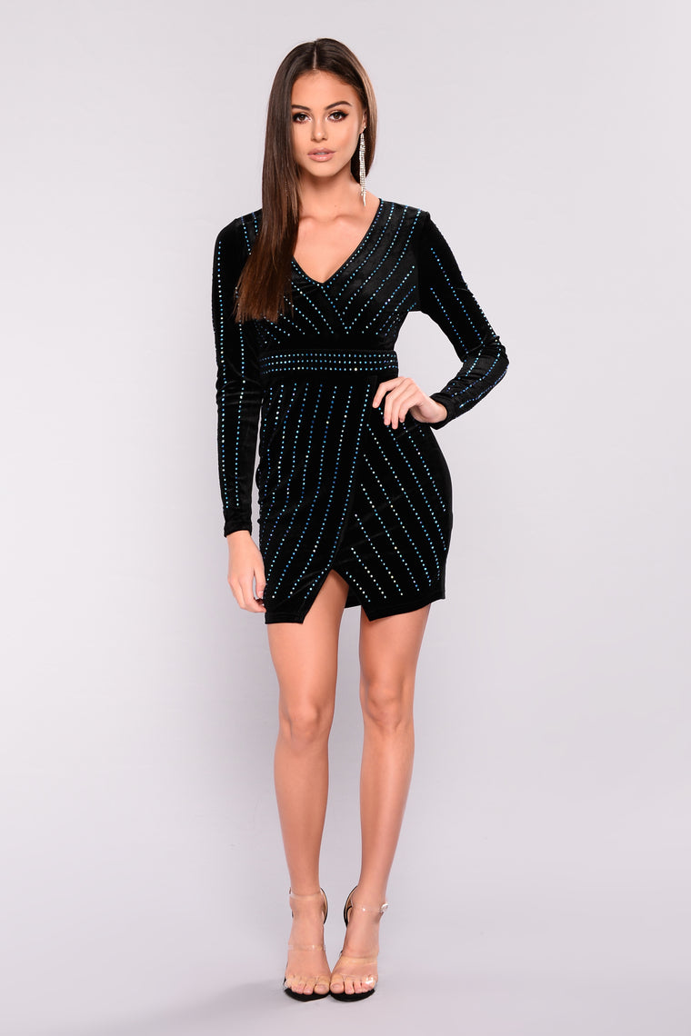 1000 Stars Rhinestone Dress - Black/Blue
