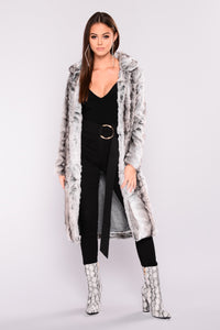 Fur Real Fur Coat - Grey