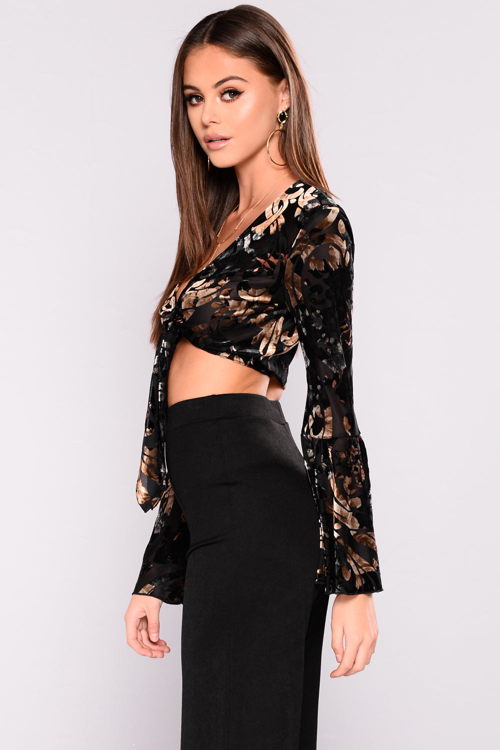 Cathleen Velvet Crop Top - Black Combo