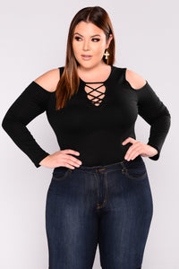 Milano Lace Up Top - Black