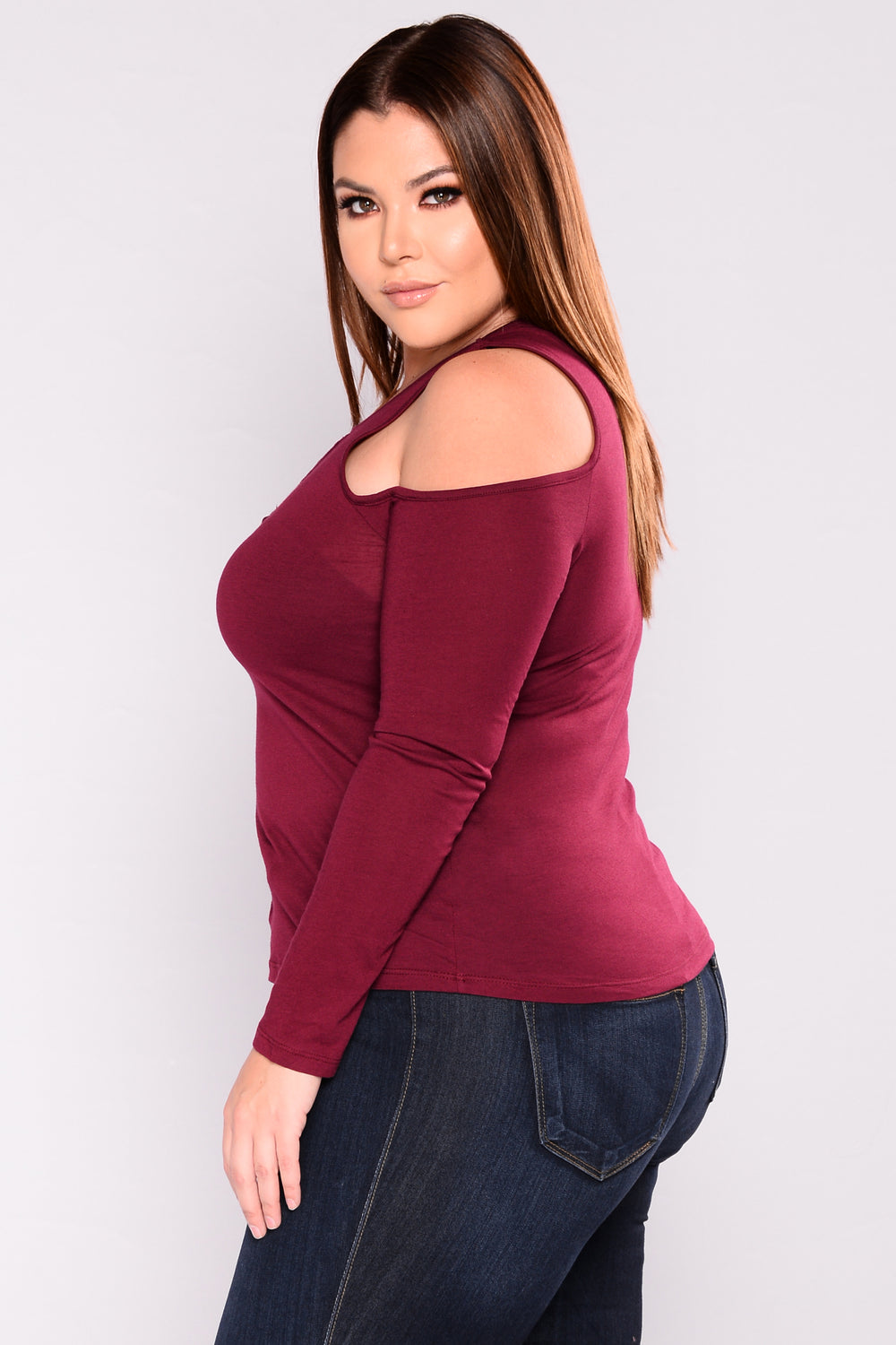 Milano Lace Up Top - Burgundy