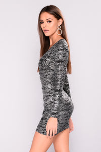 Karma Kiss Sparkle Dress - Black/Silver