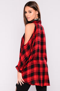 Falling For You Cold Shoulder Plaid Top - Red/Black