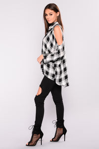 Falling For You Cold Shoulder Plaid Top - Black/White