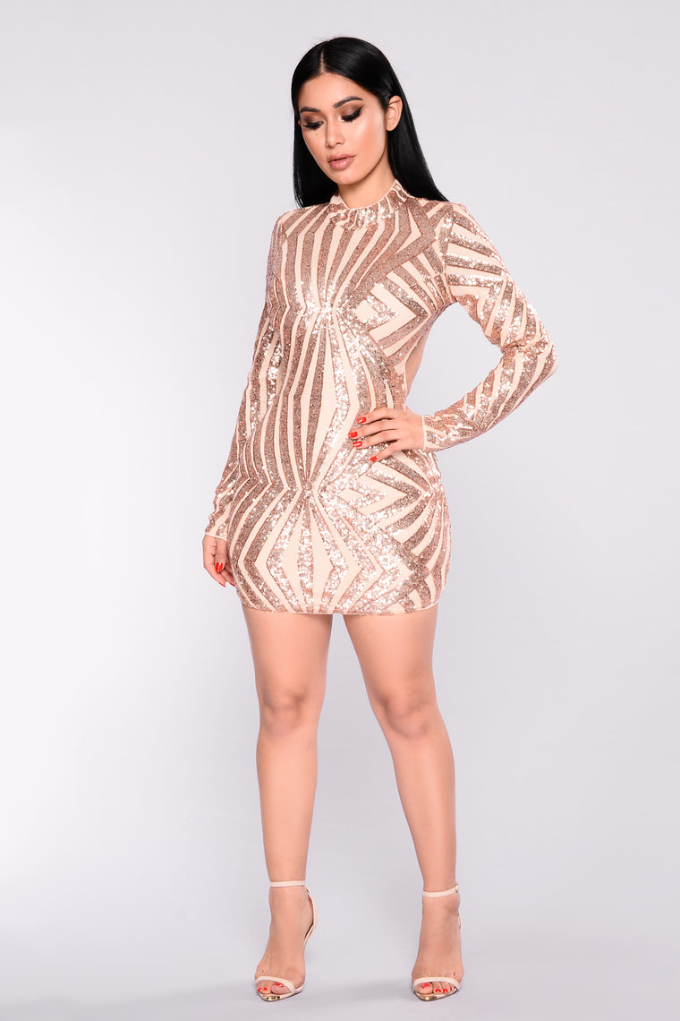A Night In Italy Sequin Dress - Rosegold