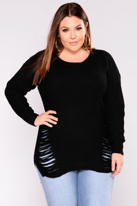 Distressed And Impressed Sweater - Black