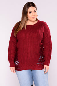 Distressed And Impressed Sweater - Burgundy