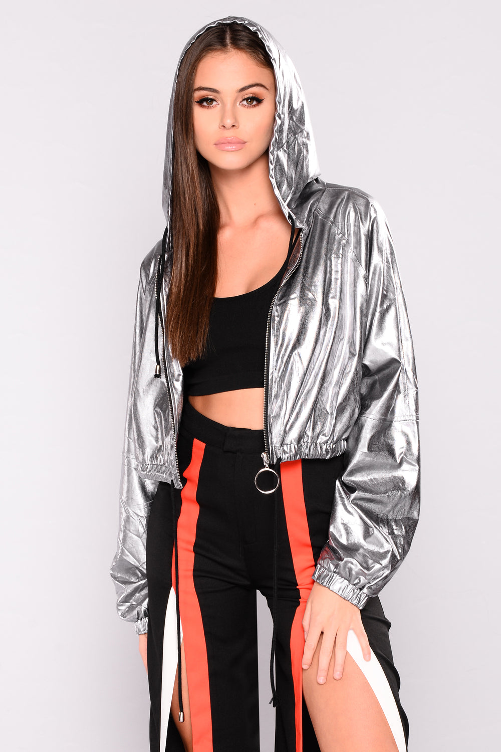 Take A Hike Metallic Jacket - Charcoal