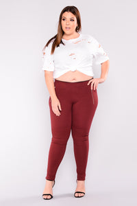 Flicker Moto Pants - Wine Angle 1