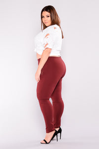 Flicker Moto Pants - Wine Angle 5