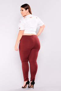 Flicker Moto Pants - Wine Angle 6