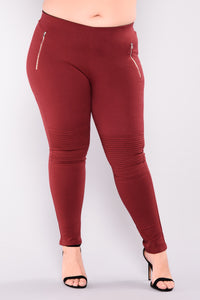 Flicker Moto Pants - Wine Angle 2