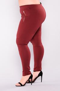 Flicker Moto Pants - Wine Angle 4