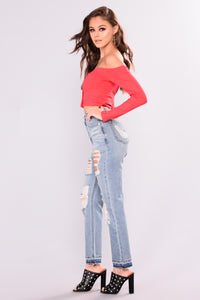You Should Know Boyfriend Jeans - Medium Blue Wash