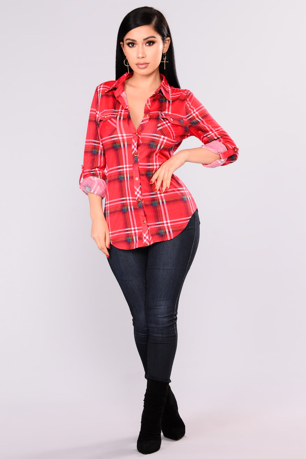 Soul Mate Plaid Top - Red/Navy