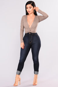 Cheryl Twist Front Top - Taupe