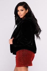 Keep It Real Cozy Fur Jacket - Black