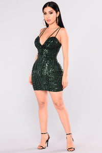 Hottest Around Sequin Dress - Hunter Green