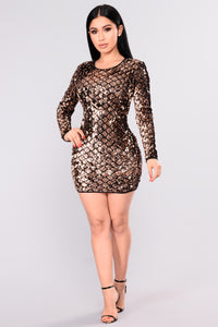 Shining Diamond Sequin Dress - Rose Gold