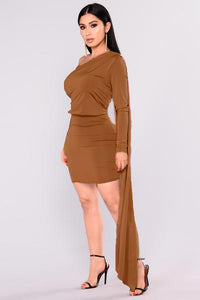 Tempted Draped Dress - Chocolate