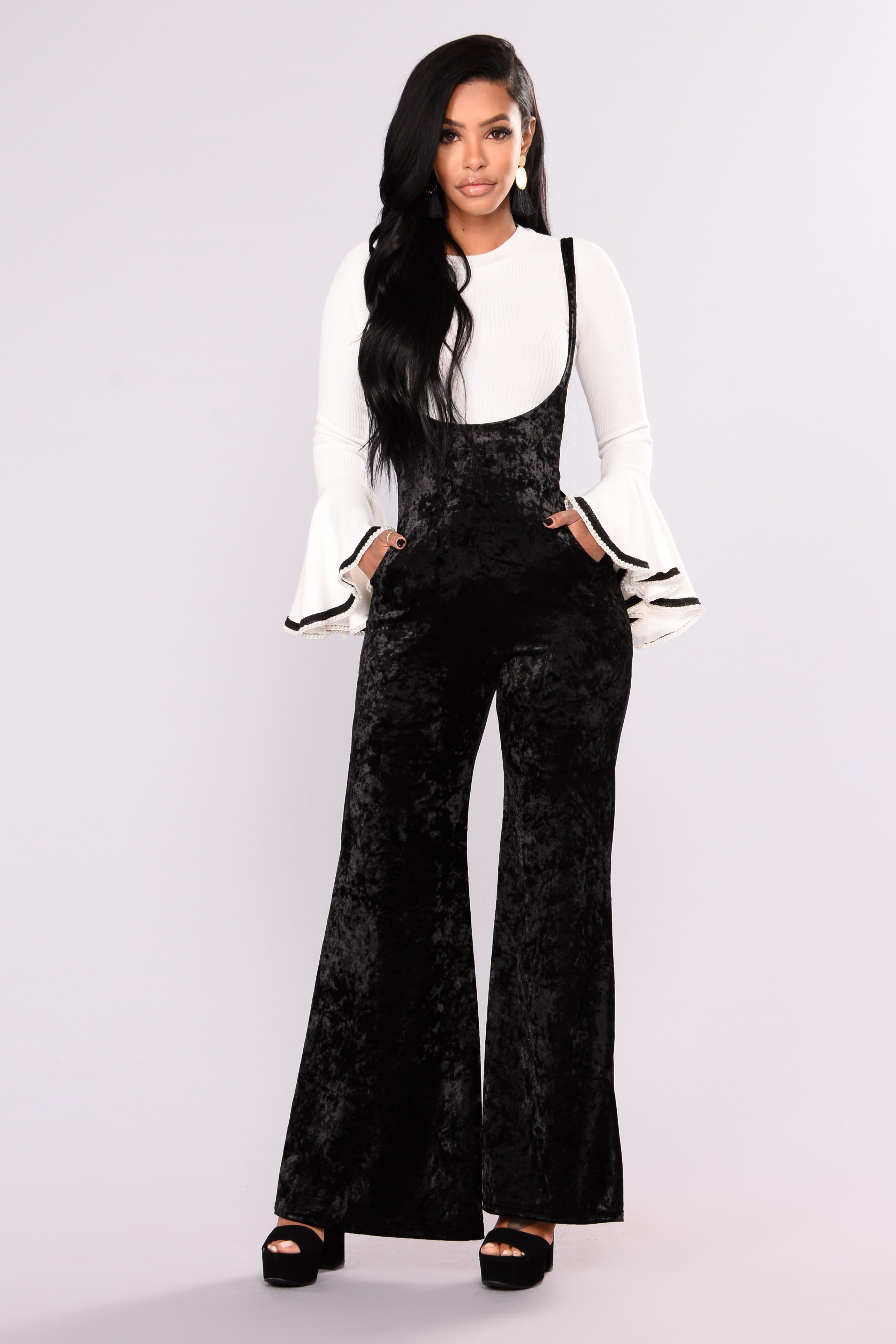 48ad3404c4e7e More On The Weekend Crushed Velvet Jumpsuit - Black
