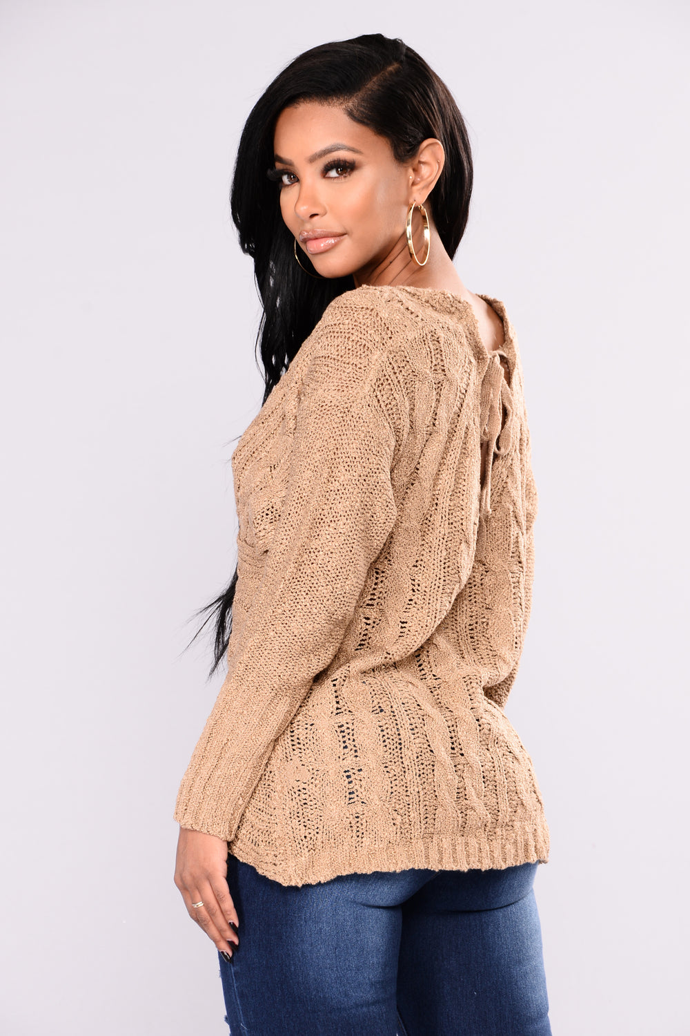 Carmen V Neck Sweater - Taupe