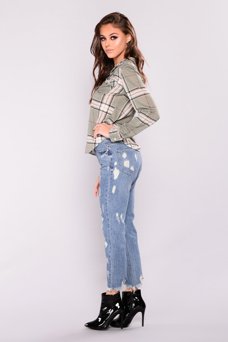 Not Your Baby Boyfriend Jeans - Medium Blue Wash