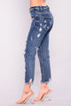 For The Girls Boyfriend Jeans - Dark Denim