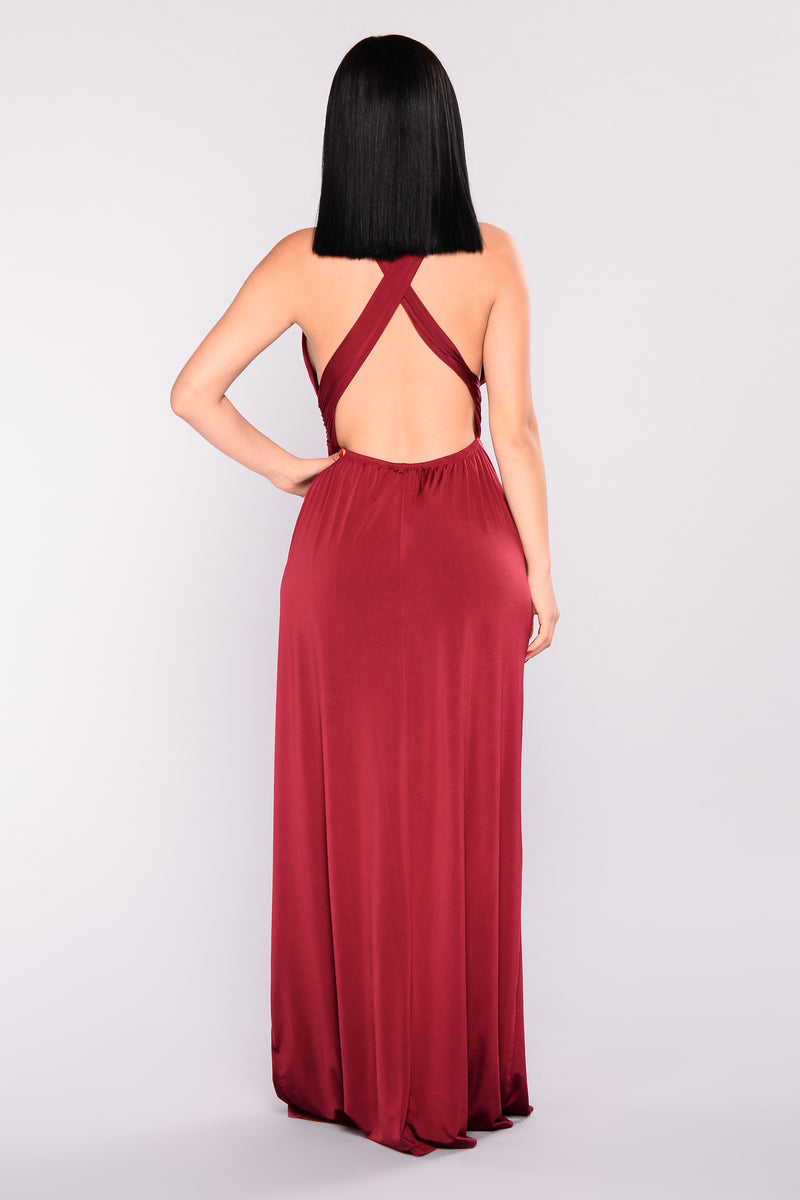 Maleah Slit Dress - Burgundy