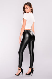 Talia Faux Leather Leggings - Black