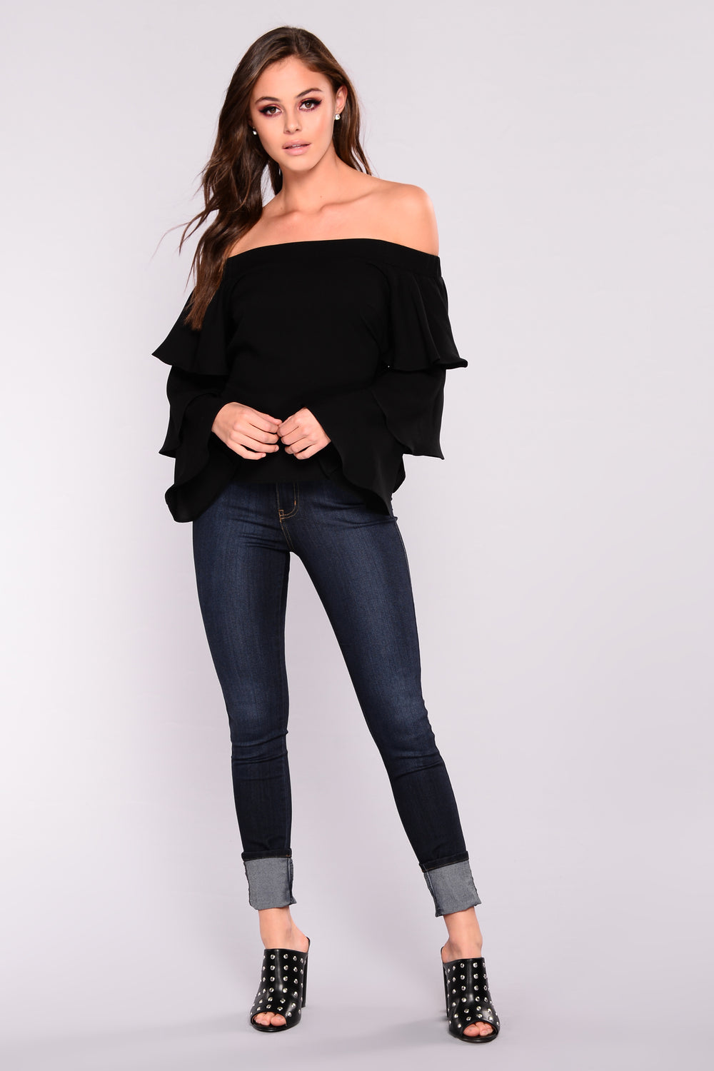 Nadia Off Shoulder Top - Black