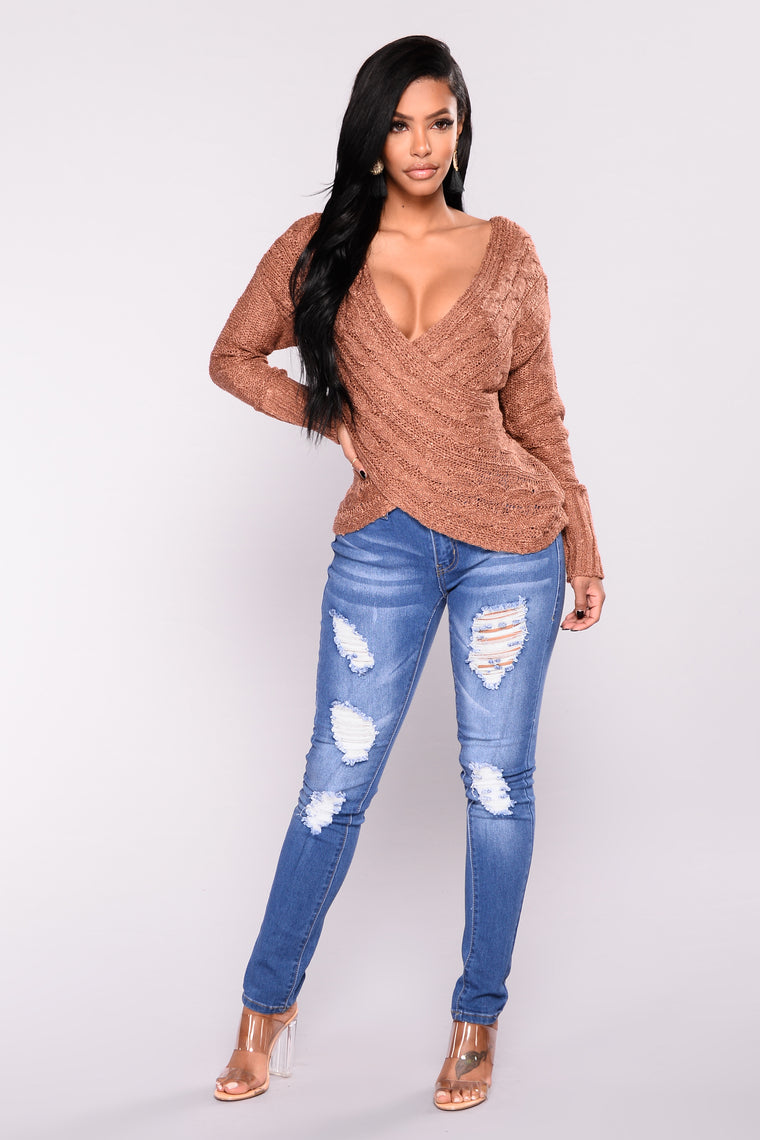 Carmen V Neck Sweater - Bronze