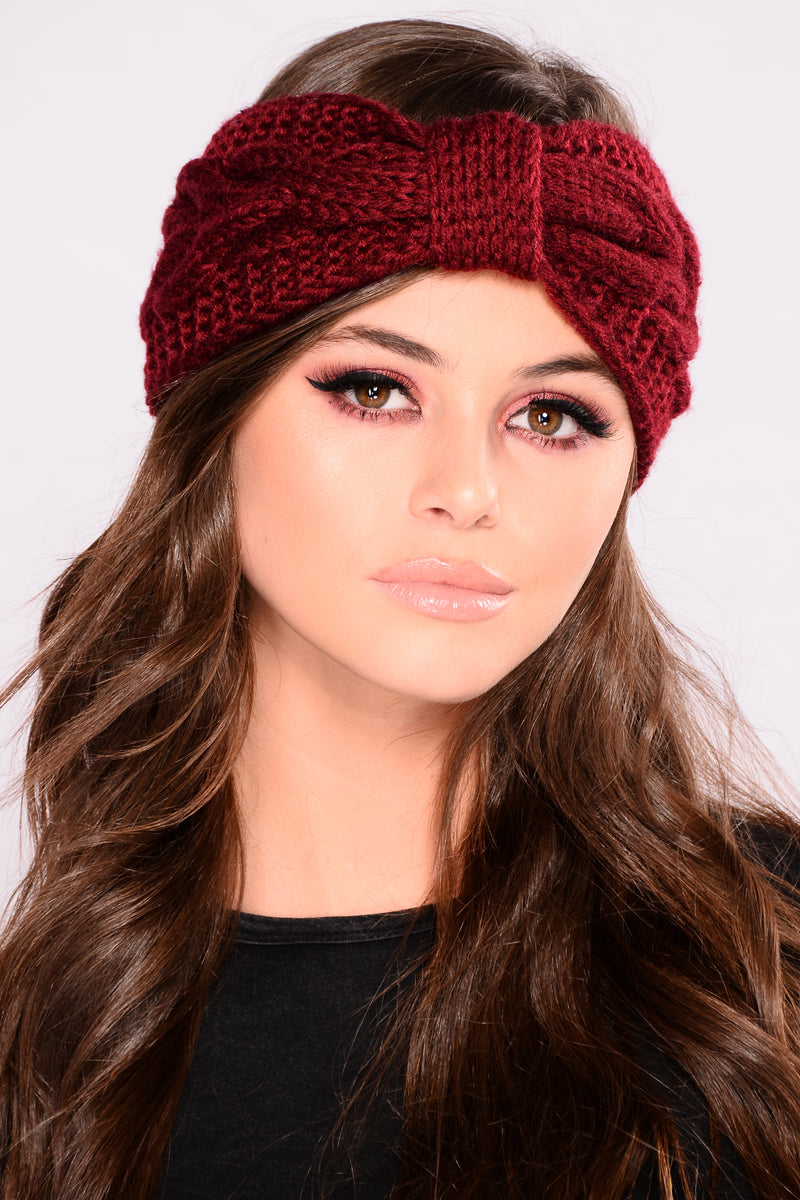 Big Bow Headband - Burgundy