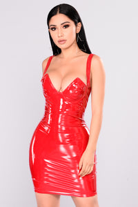 Fame Latex Dress - Red Angle 2