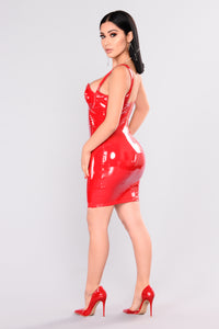 Fame Latex Dress - Red Angle 4