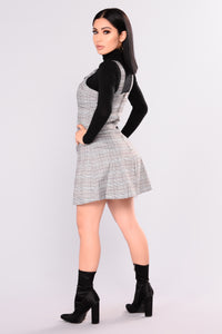Back To School Plaid Dress - Black