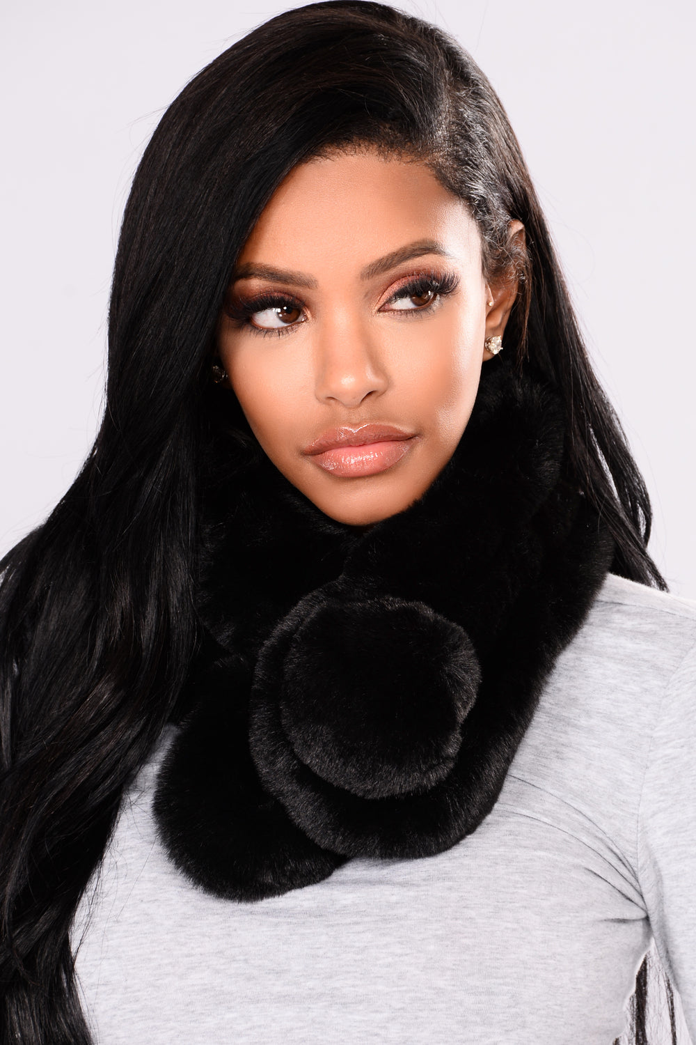 Fluff It Up Wrap Fur Scarf - Black