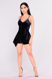 Threshold Velvet Romper - Navy Angle 1