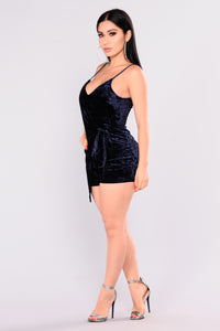 Threshold Velvet Romper - Navy