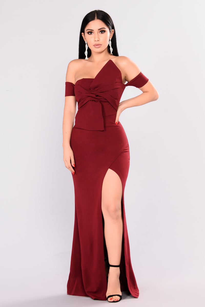 Reception Off Shoulder Dress - Wine