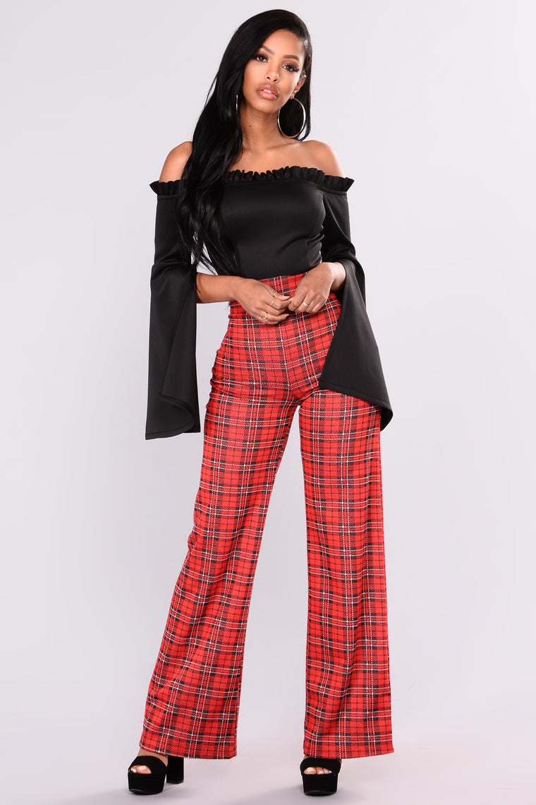 Tokyo Plaid Pants - Red