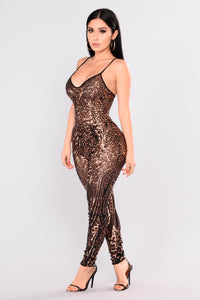 Out From Under Sequin Jumpsuit - Black/Rose Gold