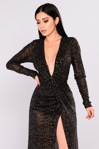 Look At The Stars Metallic Dress - Black Angle 2