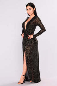 Look At The Stars Metallic Dress - Black Angle 3