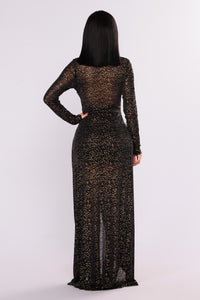 Look At The Stars Metallic Dress - Black Angle 4