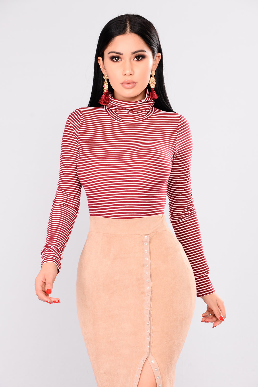 Gavin Striped Top - Burgundy/White