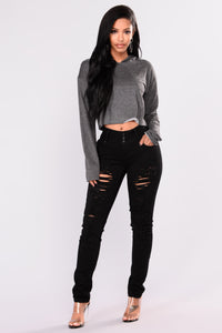 Honey Please Lounge Hoodie - Charcoal