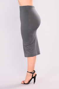 Pencil You In Skirt - Charcoal Angle 4