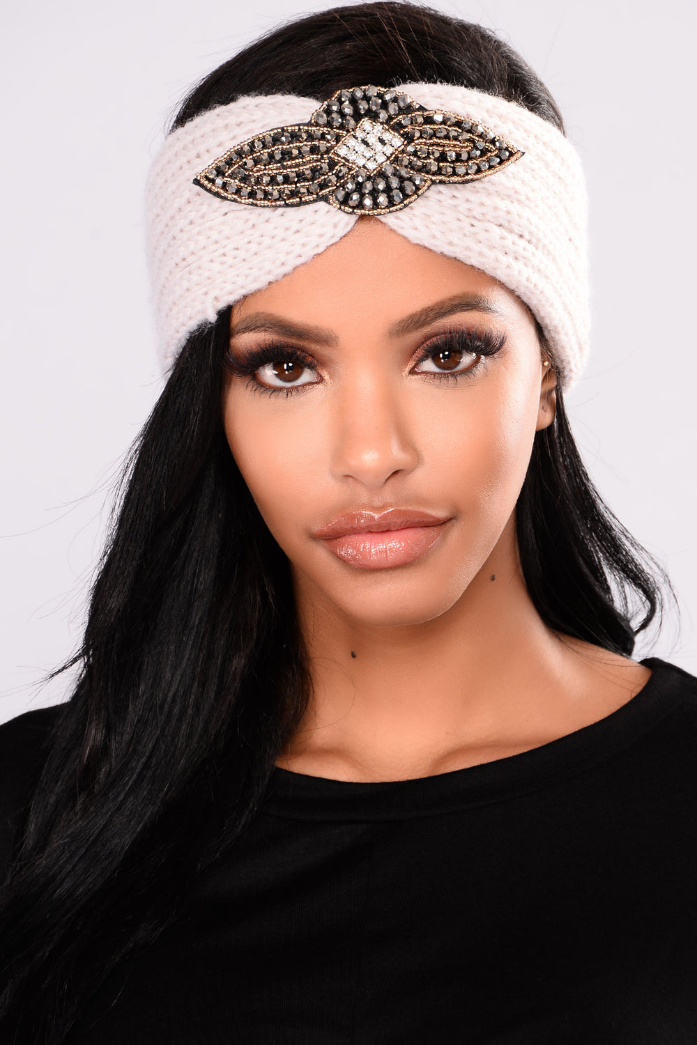 Crystal Cover Knit Headband - Ivory